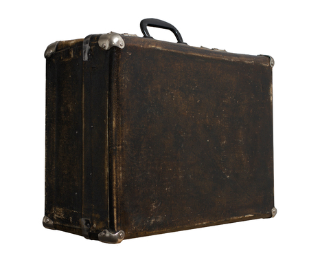 Isolated Scratched Vintage Brown Suitcase sur un fond blanc Banque d'images - 62119628