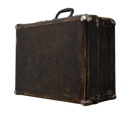 Isolated Scratched Vintage Brown Suitcase sur un fond blanc Banque d'images - 62119631