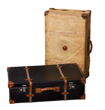 Paire isolée de Suitcases Vintage sur un fond blanc Banque d'images - 62119656