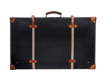 Isolated Valise en cuir noir sur un fond blanc Banque d'images - 62119658