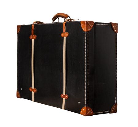 Isolated Valise en cuir noir sur un fond blanc Banque d'images - 62119660