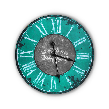 Isolated Vintage Old Light Blue Clock on a white background