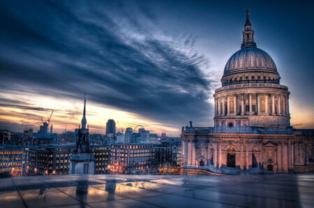 st pauls cathedral: Sunset over St Pauls Cathedral
