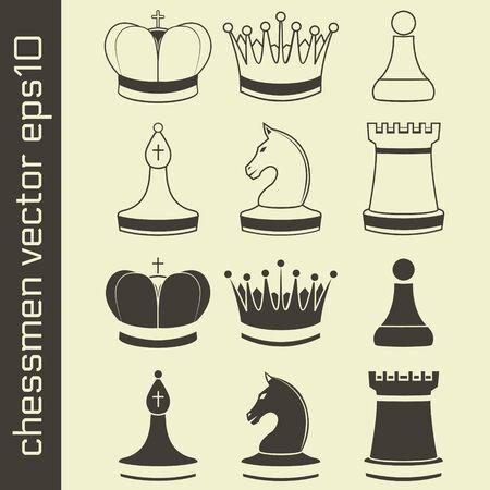 Black and White Chessmen Set Illustration