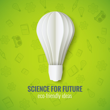 Realistic Paper Bulb in Origami Style on a Green Seamless Background