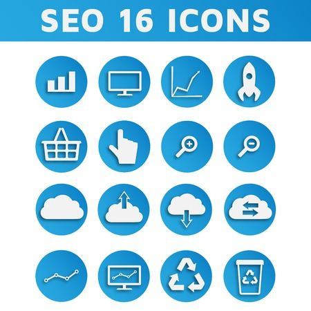 Blue SEO Business Icons Set with Shadow Vector