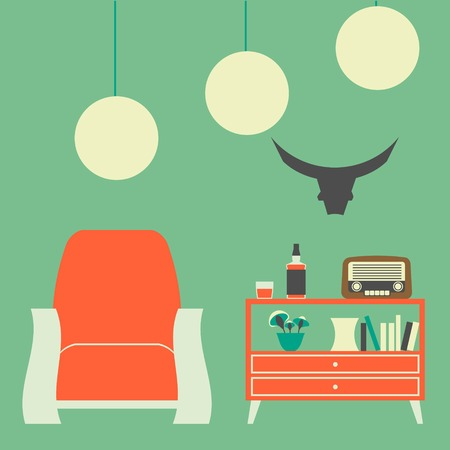 Vintage Interior of 50s-60s in Flat Style Vector
