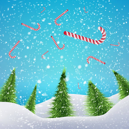 drifts: Christmas Forest with falling xmas candy canes, snowfall and drifts. Vector illustration concept for your artwork, posters, flyers, greeting cards. Illustration