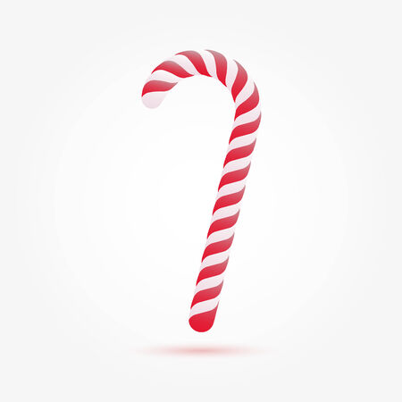 cane sugar: Christmas candy cane isolated on white background. Vector illustration for your artwork, banner, posters, greeting card.