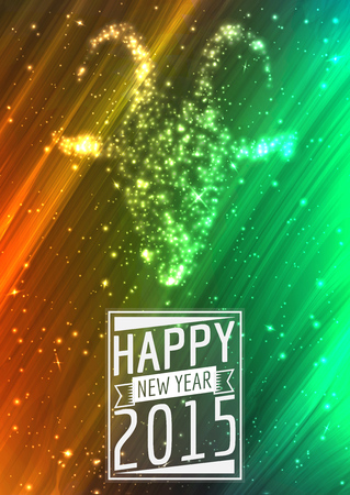 spot lights: golden 2015 Happy New Year greeting card with sparking spot lights background - Illustration Illustration