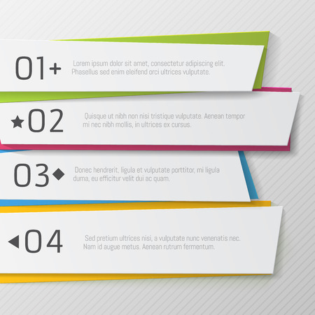 Modern paper numbered banners, color Design template. Can be used for infographics, graphic, brochure, education or project book