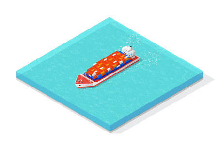 Isometric cargo ship carrying various multi colored containers. Vector illustration concepts. Illustration