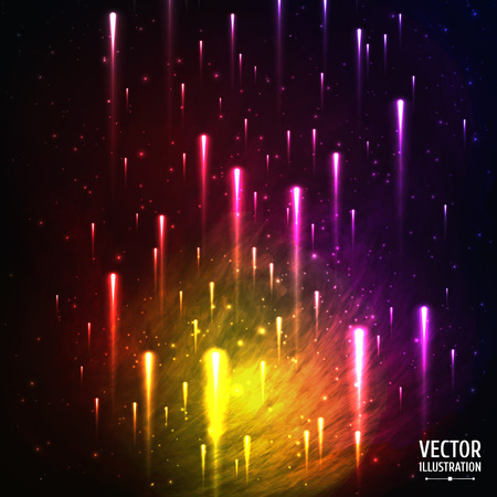 Colorful Space Galaxy Background with Light, Meteors, Shining Stars, Stardust and Nebula. Vector Illustration for artwork, party flyers, posters, banners.