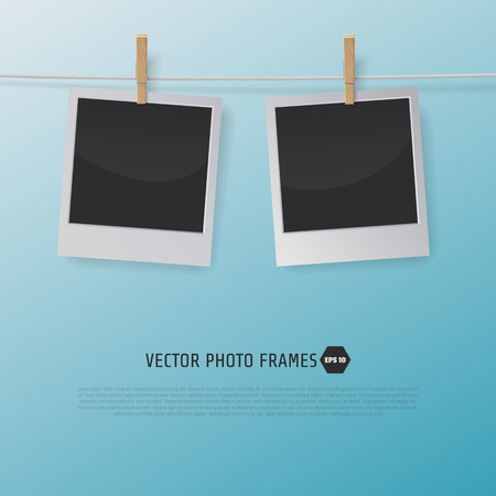 Retro Photo Frames on a Rope with clothespins. Vector illustration for your artwork, posters, flyers. 일러스트