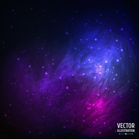 nighttime: Colorful Space Galaxy Background with Light, Shining Stars, Stardust and Nebula. Vector Illustration for artwork, party flyers, posters, banners.