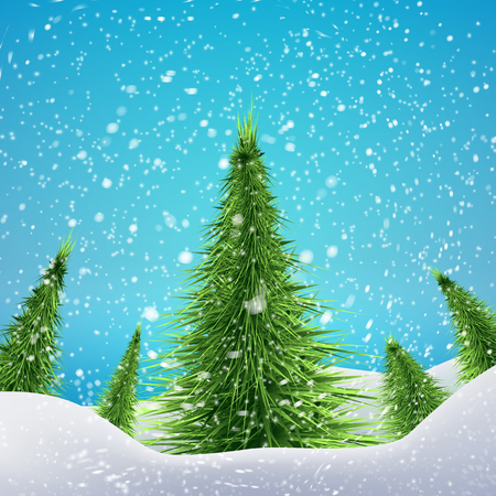 drifts: Christmas Forest with snowfall and drifts. Vector illustration concept for your artwork, posters, flyers, greeting cards.