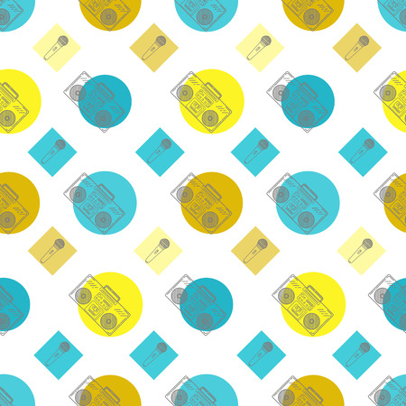 boombox: Music flat line retro seamless pattern with boombox, mic, cassete. Vector illustration for your artwork, poster, banners, print.