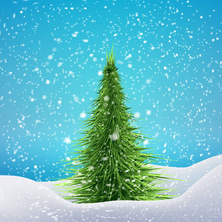 drifts: Christmas Tree with snowfall and drifts. Vector illustration concept for your artwork, posters, flyers, greeting cards.