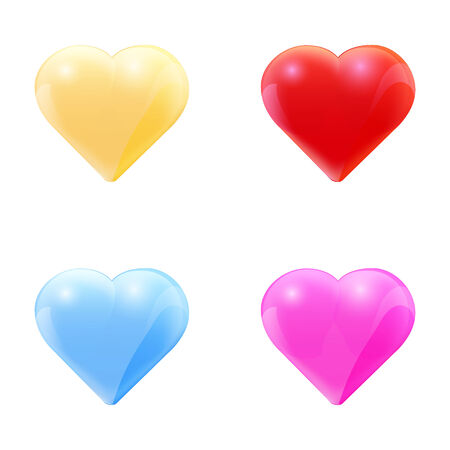 Colorful set of glass hearts. Vector illustration.