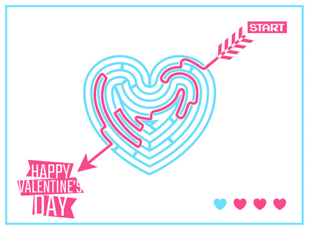 Concept of Happy Valentines Day greeting or invitation card with heart like labyrinth and arrow passing through. Vector illustration. Can be used for your poster, flyer, other design.