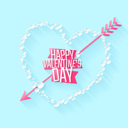 Happy Valentines day greeting or invitation card with heart of paper particles and arrow. Vector illustration. Can be used for your poster, flyer, other design.