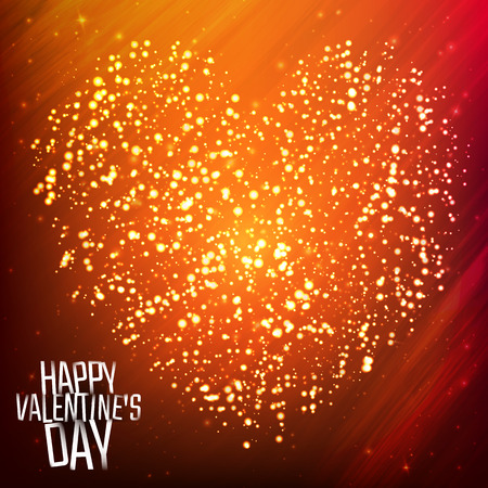 Happy Valentines day background with shining heart of particles. Vector illustration for your greeting or invitation card, poster, flyer, other design. Çizim
