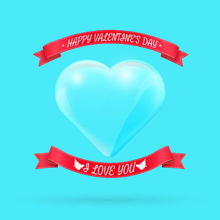 Valentines day background with glass heart. Vector illustration for your greeting or invitation card, poster, flyer, other design.