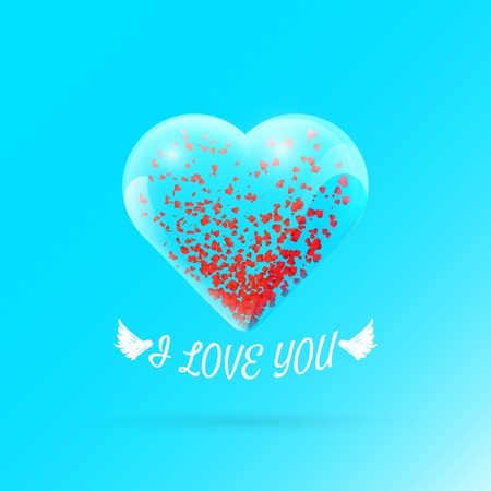 Valentines day background with particles within glass heart. Vector illustration for your greeting or invitation card, poster, flyer, other design.
