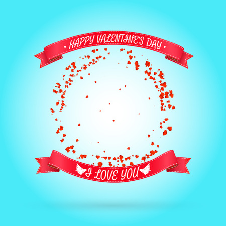 Happy Valentines day background with round frame of particles like hearts. Vector illustration. Can be used for your poster, flyer, other design.