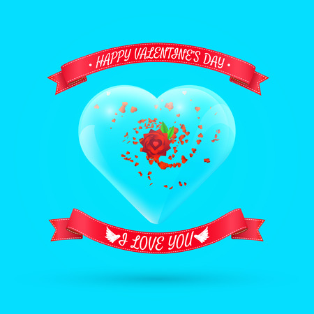 Valentines day background with flower within glass heart. Vector illustration for your greeting or invitation card, poster, flyer, other design. Çizim