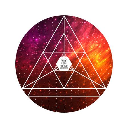 cosmos: Hipster Dreiecks bunten kosmischen Hintergrund. Vector Illustration für Kunstwerk, Party Flyer, Plakate, Banner