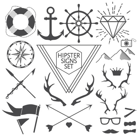 Hipster signs and symbols set with anchor, lifebuoy, steering wheel, diamond, camera, antlers, mustache, glasses, flags, arrows, compass, harpoons, crown, mountains. Vector Illustration for artwork, party flyers, posters, banners, other desing