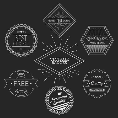 Guarantee, quality, thank you, best choice vintage retro badges white on black chalkboard background. Vector illustration