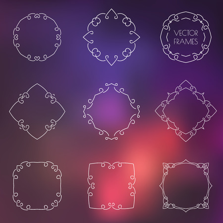 Set of various outline frames and badges on colorful blur background. Vector illustration.
