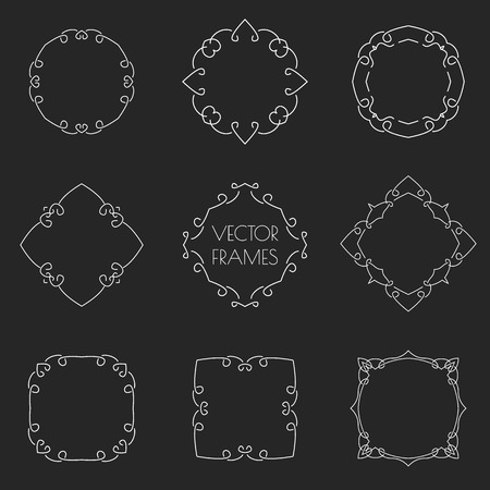 Set of thin outline vintage frames on chalkboard. Vector illustration