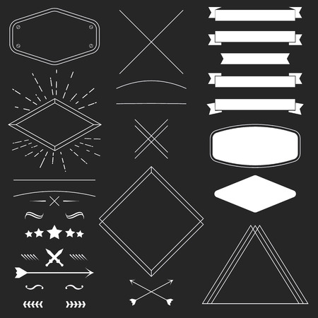 Set of vintage hipster design elements like frames, ribbons, badges, divider. Vector illustration for your artwork, poster, banner