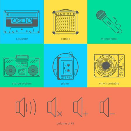 Flat line icons set of audio technic 90s like magnete cassette, combo, microphone, stereo system, player, vinyl turntable and volume user interface kit. Modern design style vector illustration concept. Çizim