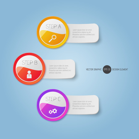 Modern round buttons and banners with text. Can be used for infographics,  graphic, brochure, education or project book Çizim