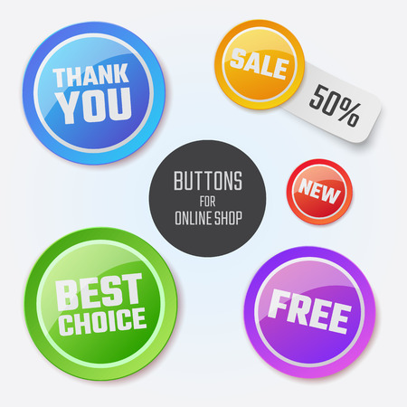 Modern round buttons with messages for your business website, online shop. Can be used in infographics,  graphic, brochure, education or project book