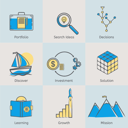 design solutions: Flat line icons set of portfolio, search ideas, business decisions, solutions, discover, money investment, learning new skills, growth income and company mission. Modern design style vector illustration concept.