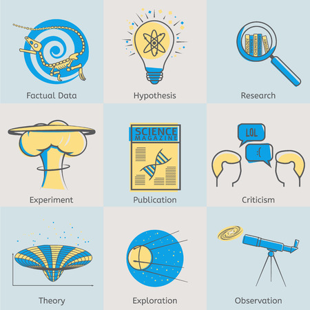 Flat line science icons set of factual data, hypothesis, research, experiment, publication, criticism, theory, exploration, observation. Modern design style vector illustration concept.