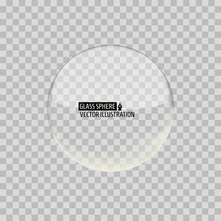 Traparent Glass Sphere on a grid background. Vector illustration.