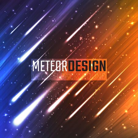 meteors: Colorful background with Shining Neon Lights Like flying Meteors. Vector Illustration for artwork, party flyers, posters, banners