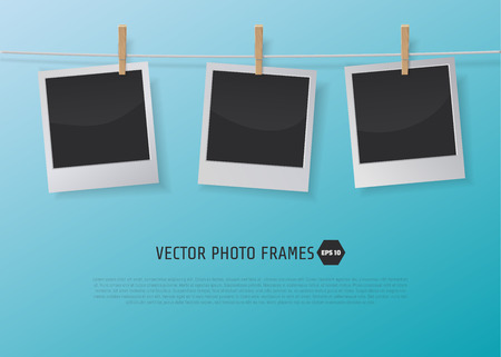 the photo: Retro Photo Frames on Rope with clothespins. Vector illustration  for artwork, party flyers, posters, banners
