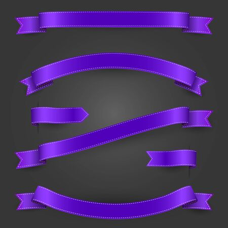 Bright purple ribbons and banners set for your website, poster, flyerm artwork. Vector illustration isolated.