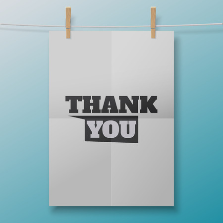 Thank You poster like white sheet on clothespins. Illustration for your business artwork, websites, presentations.