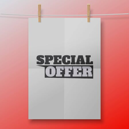 Vector special offer poster like white sheet on clothespins. Illustration for your business or online shop