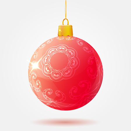 Red Christmas ball on a white background isolated. Vector illustration for your greeting card, party flyer, poster.