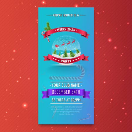 Template of Invitational Christmas Party flyer.  Vector illustration.