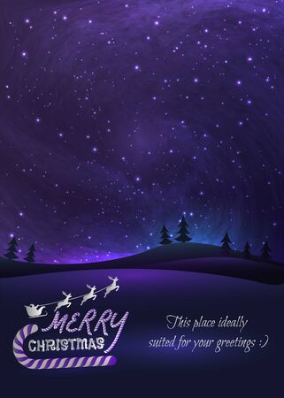 Merry Christmas greeting card with shiny stars in night skies, xmas tree forest and flying santa.  Vector Illustration for artwork, party flyers, posters.